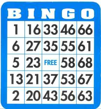 "18 bingo cards made from card stock paper, 5"" x 5 1/2"". G478"